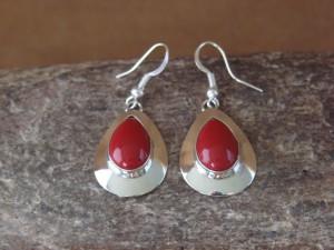 Native American Sterling Silver Tear Drop Coral Dangle Earrings by Russel Wilson Navajo