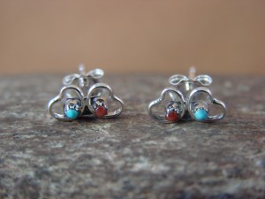 Zuni Indian Sterling Silver Heart Post Earrings by Natachu