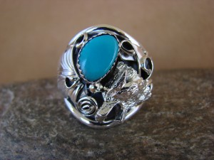 Navajo Indian Hand Stamped Sterling Silver & Turquoise Wolf Ring Size 12.5