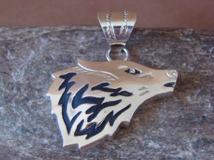 Native American Jewelry Sterling Silver Lobo Pendant By A. Mariano