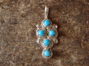 Zuni Indian Jewelry Sterling Silver Turquoise Multi-stone Pendant