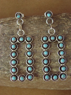 Zuni Indian Jewelry Sterling Silver Turquoise Dangle Earrings by Lonasee