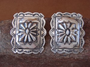 Navajo Indian Jewelry Sterling Silver Stamped Earrings! Carson Blackgoat