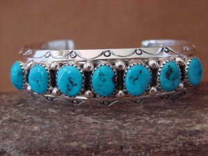 Navajo Indian Jewelry Sterling Silver Turquoise Row Bracelet! Sarah Curley