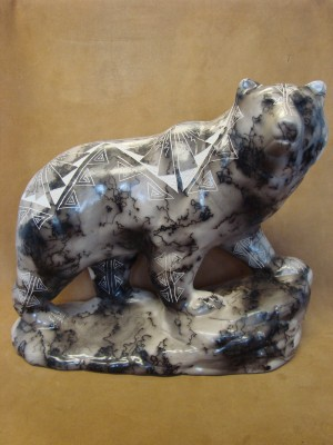 Native American Pottery Horse Hair Sacred Bear Statue by Matt Vail