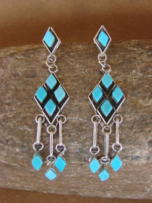 Native American Sterling Silver Turquoise Dangle Earrings by Chavez! Zuni