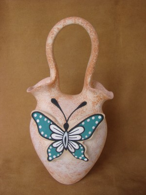 Native American Handmade Clay Butterfly Wedding Vase by Tony Lorenzo! Zuni Pueblo