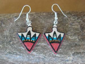 Jemez Indian Pueblo Handmade Clay Earrings by Benny Chinana! Handpainted