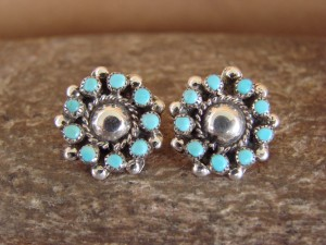 Zuni Indian Jewelry Sterling Silver Turquoise Post Earrings by Angeline Johnson