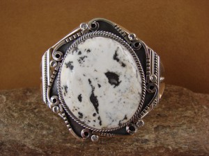 Native American Sterling Silver White Buffalo Turquoise Bracelet! Raymond Delgarito 1