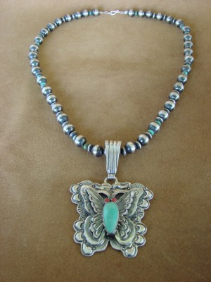 Native American Jewelry Sterling Silver Butterfly Turquoise Necklace! Signed