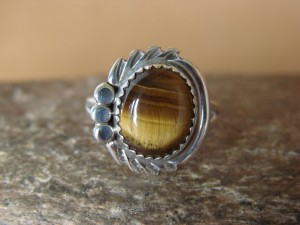Navajo Indian Jewelry Sterling Silver Tiger Eye Ring Size 7 1/2 by Cadman