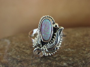 Navajo Indian Jewelry Sterling Silver Opal Ring - L. Shorty -  Size 5 1/2
