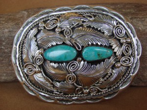 Native American Jewelry Hand Stamped Sterling Silver Turquoise Belt Buckle