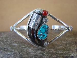 Navajo Indian Jewelry Turquoise Sterling Silver Coyote Claw Bracelet!