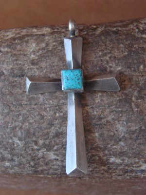 Native American Indian Jewelry Sterling Silver Turquoise Cross Pendant! Ray Betsoi