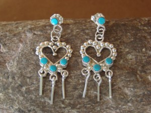 Navajo Indian Sterling Silver Turquoise Heart Dangle Earrings! Homer
