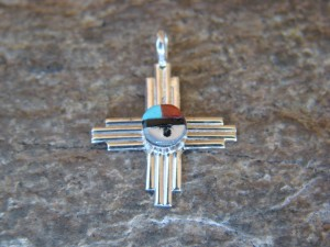 Zuni Indian Jewelry Sterling Silver Zia Symbol w/ Turquoise and Coral Inlay Sunface Pendant