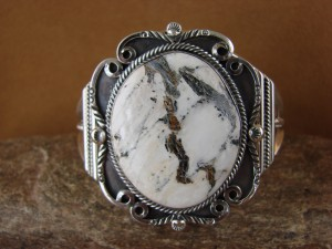 Native American Jewelry Sterling Silver White Buffalo Turquoise Bracelet! Raymond Delgarito