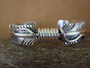 Navajo Indian Jewelry Sterling Silver Feather Bracelet by Mike Thomas!