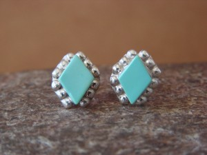 Zuni Indian Jewelry Sterling Silver Rectangular Turquoise Post Earrings!