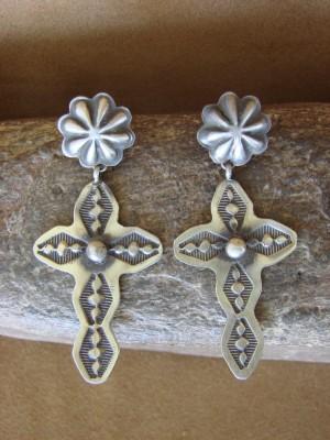 Navajo Indian Jewelry Handmade Sterling Silver Cross Earrings