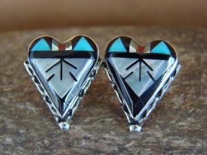 Zuni Indian Sterling Silver Inlay Heart Post Earrings by Kallestewa