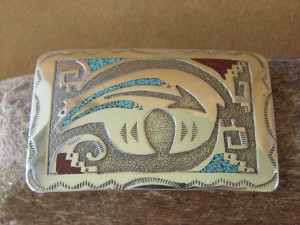 Native American Indian Jewelry Sterling Silver Chip Inlay Belt Buckle!
