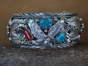 Large Navajo Indian Turquoise Sterling Silver Eagle Bracelet - Thomas