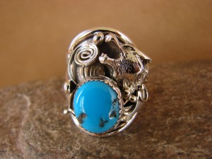 Navajo Indian Hand Stamped Sterling Silver & Turquoise Wolf Ring Size 9