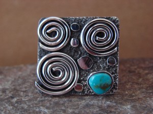 Native American Sterling Silver Turquoise Stamped Ring by Alex Sanchez Size 10
