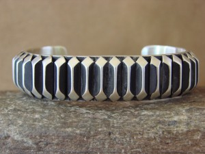 Navajo Indian Jewelry Handmade Sterling Silver Bracelet by Leander Tahe!