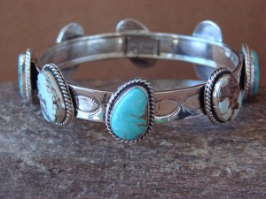 Navajo Indian Jewelry Sterling Silver Turquoise Bangle Bracelet