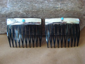 Native American Sterling Silver Turquoise Hair Comb