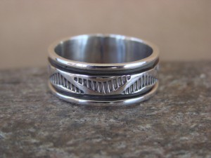 Native American Jewelry Sterling Silver Ring Band, Size 9 by Bruce Morgan!