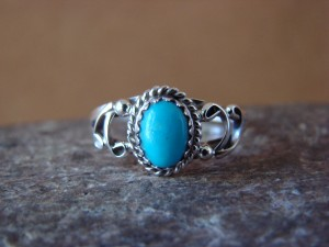 Native American Indian Jewelry Sterling Silver Turquoise Ring, Size 5 Largo