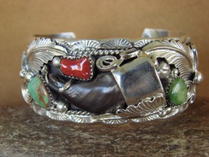 Navajo Indian Jewelry Turquoise Sterling Silver Faux Bear Claw Bracelet!