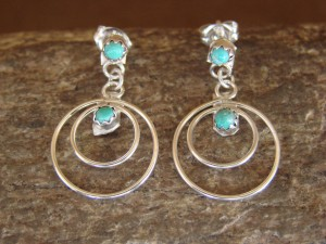 Zuni Indian Turquoise Loop Post Sterling Silver Earrings- Elizabeth Edaakie