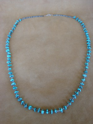 Santo Domingo Indian Hand Strung Turquoise Necklace by Pablita Bailon