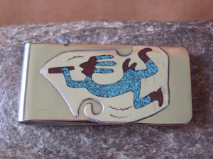 Native American Jewelry Sterling Silver Turquoise Chip Inlay Money Clip