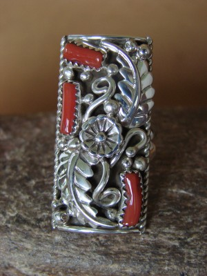 Navajo Jewelry Sterling Silver Coral Ring by Spencer! Size 8 1/2