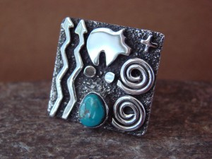 Native American Sterling Silver Turquoise Stamped Ring by Alex Sanchez Size 7 1/2