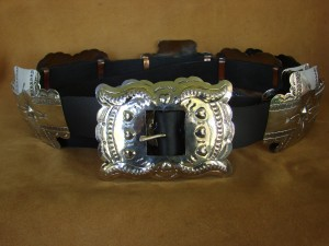 Native American Jewelry Hand Stamped Nickel Silver Concho Belt Carson Blackgoat BLT092