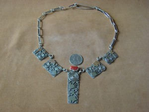 Native American Sterling Silver Coral Petroglyph Necklace by Alex Sanchez