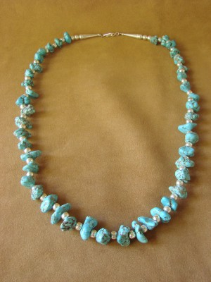 Native American Jewelry Turquoise Sterling Silver Necklace