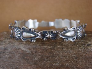 Native American Indian Jewelry Sterling Silver Bangle Bracelet by Tom Lewis