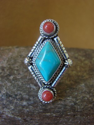Native American Jewelry Sterling Silver Turquoise and Coral Ring! Size 8 1/2 Running Bear