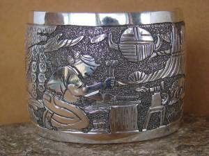 Native American Jewelry Sterling Silver Storyteller Bracelet by Elaine Becenti