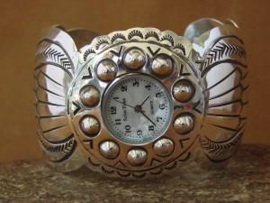 Native American Indian Jewelry Sterling Silver Cuff  Watch - Carson Blackgoat
