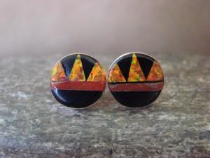 Zuni Indian Jewelry Sterling Silver Opal Multistone Inlay Post Earrings! T. Martinez
